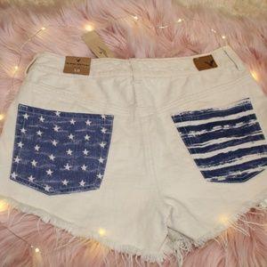 American Eagle flag pocket shorts NWT